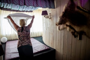 Sex worker Jana (49) prepares a room for a client at the Candy Store brothel in Berlin on 10 August, 2020 amid the Covid-19 corona virus pandemic.