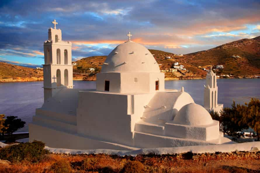 Booking for destinations such as Greece pick up from October. Byzantine church of Agia Irene on the island of Ios.
