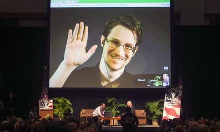 Edward Snowden appears on live video feed broadcast from Moscow.