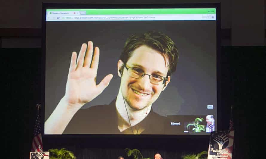 Edward Snowden appears on a live video feed broadcast from Moscow at a 2015 event.