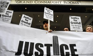 Protesters demonstrate outside the Grenfell public inquiry in central London