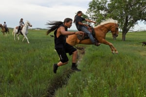 Horses and riders in South Dakota