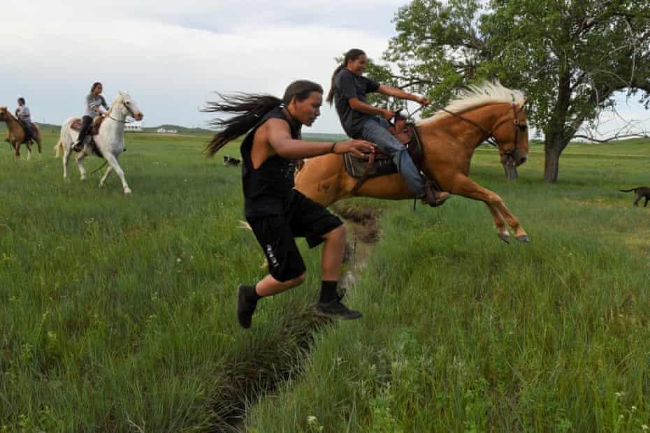 Horses and riders in South Dakota