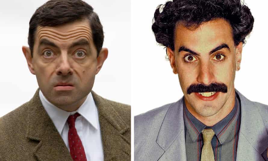 Rowan Atkinson as Mr Bean and Sacha Baron Cohen as Borat.
