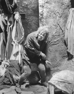 American actor Lon Chaney Sr on the set of The Hunchback of Notre Dame, directed by Wallace Worsley.