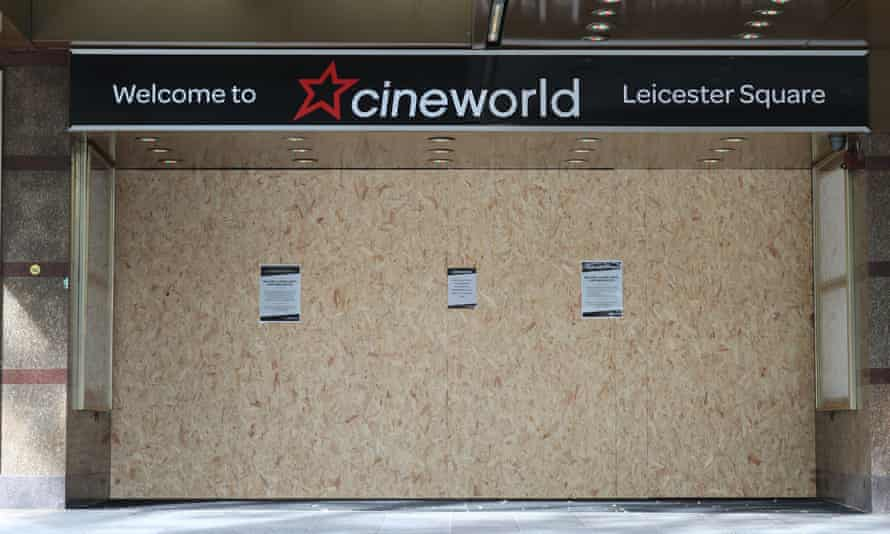 The boarded-up doors of the closed Cineworld cinema in Leicester Square, London