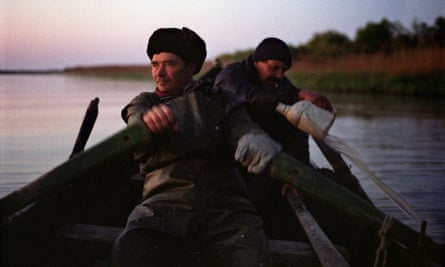 Rowing home: fisherman on the Danube.