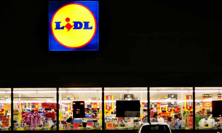 Lidl in Lowestoft, Suffolk, in the evening.