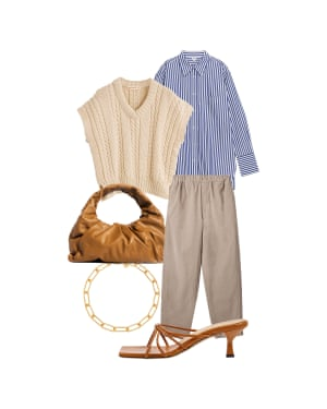 Helen Seamons, Men's fashion editor 'Layer over a shirt for a casual tailoring take on the trend.' Tank top, £295, and-daughter.com. Shirt, £59, arket.com. Trousers, £59, cosstores.com. Bottega Veneta bag, available to rent on cocoon.club, membership from £39. Bracelet, £80, mejuri.com. Mules, £325, dearfrances.com
