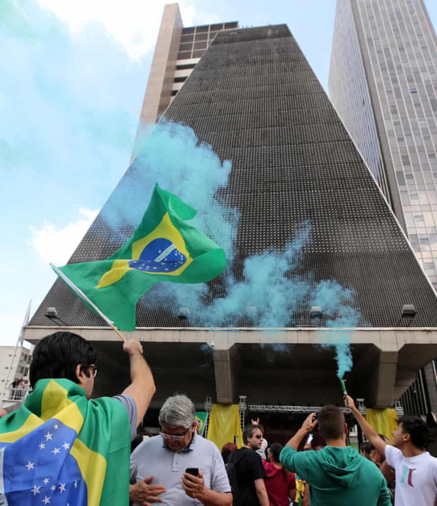 Anti-government protesters take to the streets of São Paulo.