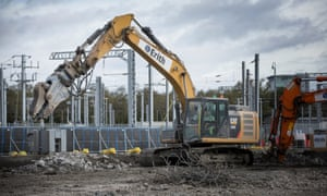 Construction machinery at the HS2 Old Oak Common site