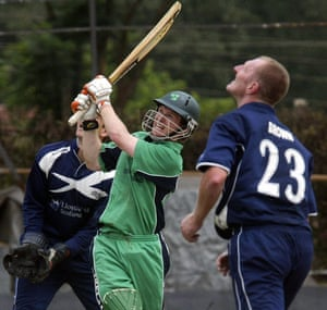 Ireland's batsman Eoin Morgan hits a six as during their ICC World Cricket League match in January 2007 against Scotland at the Gymkhana Sport Club in Nairobi.