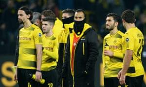 Borussia Dortmund players after their home defeat by Werder Bremen.