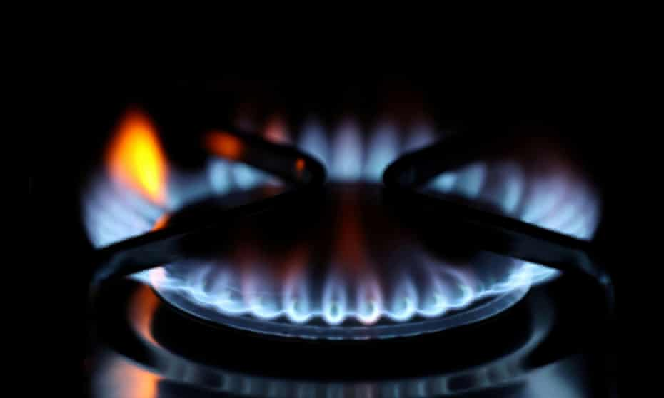 a gas stove blue flame