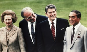 Japan's Prime Minister Yasuhiro Nakasone (far right), who has died aged 101, shared the world stage with 1980s leaders, including Margaret Thatcher, Helmut Kohl and Ronald Reagan.