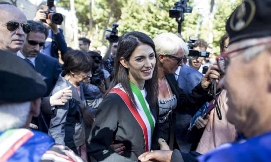 Virginia Raggi at a ceremony for the 73rd anniversary of an Italian defence of Rome during the second world war.