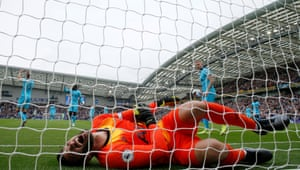 Tottenham's Hugo Lloris reacts after dislocating his elbow attempting to stop Brighton's Neal Maupay scoring the opener at the The Amex Community Stadium. At two minutes 30 seconds, Maupay's opener was their fastest goal in the Premier League.