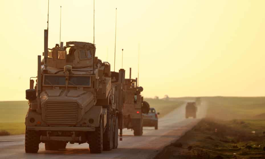 Soon-to-depart US Marine Corps vehicles in Hasakah, north-eastern Syria.