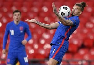 England's Kalvin Phillips controls the ball