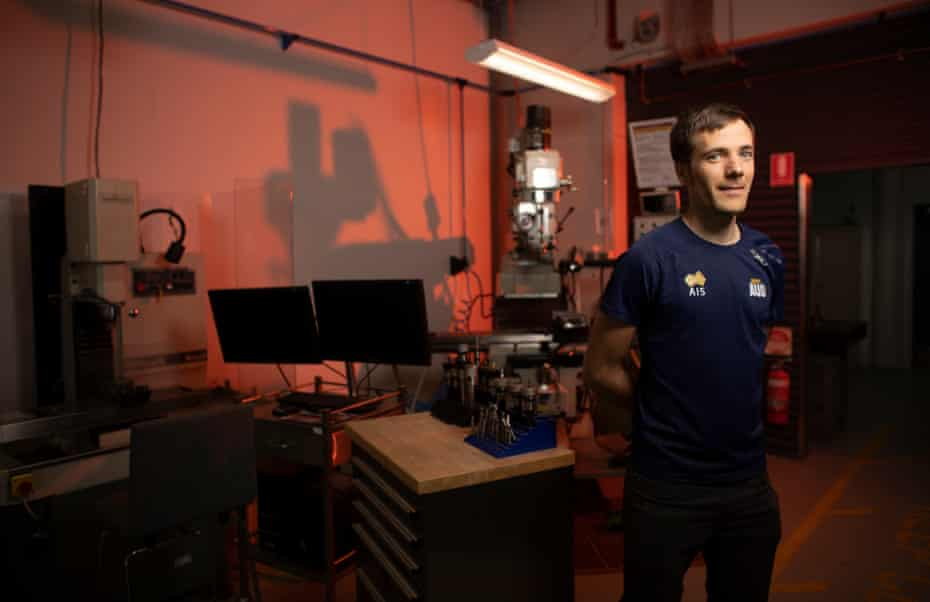 AIS engineer Callum McNamara at the engineering facility based at the AIS in Canberra.