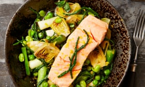 Yotam Ottolenghi's poached spring greens and trout.