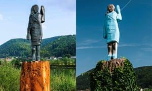 Une version en bronze (à gauche) de la statue de Melania Trump a remplacé l'original en bois endommagé (à droite).
