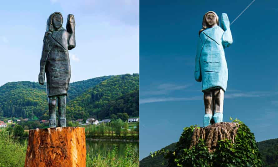 Images of the new and old statues, side by side