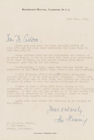 Ian Fleming's letter to Dr Gibson, up for auction this month