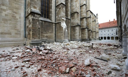 The damaged cathedral in Zagreb