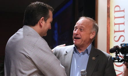 Steve King, seen at right with Ted Cruz in January 2016, said at the roundtable: 'Where did any other sub-group of people contribute more to civilization?'
