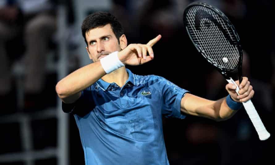 Novak Djokovic, who will return to world No1 next week, celebrates his quarter-final victory over Marin Cilic.
