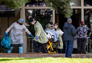 Patients are removed from Magnolia Rehabilitation and Nursing Center in Riverside, California, after 39 tested positive for coronavirus and nursing staff was not showing up to work for their own safety.