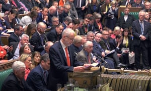 Jeremy Corbyn speaks to MPs after the vote on a no-deal Brexit on 13 March 2019.