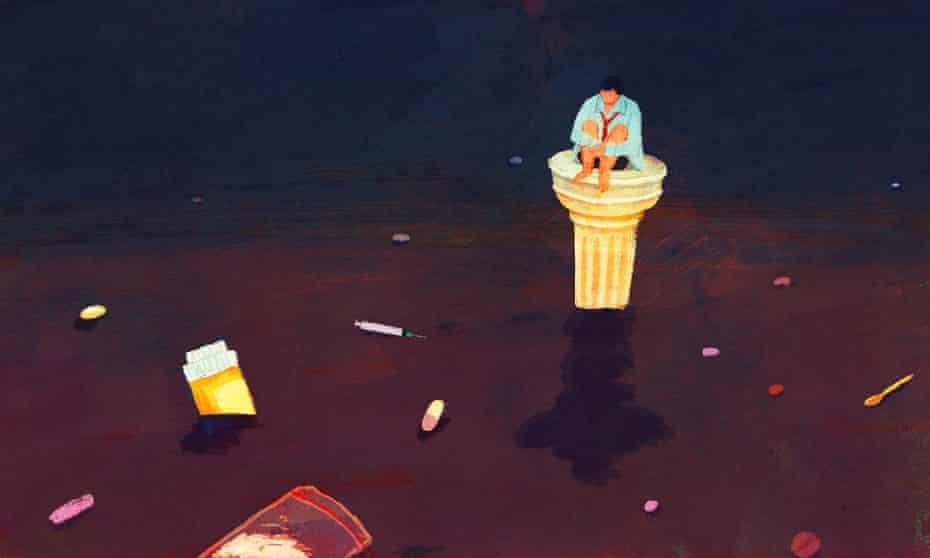Whitecollar pedestal, drug addiction