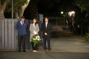 The New Zealand prime minister, Jacinda Ardern, at dawn on the driveway of Premier House with her father, Ross Ardern, left, and her partner, Clarke Gayford.