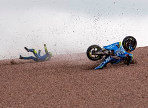 Hohenstein-Ernstthal, Germany. Suzuki Ecstar rider Andrea Iannone, from Italy, falls