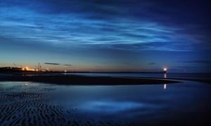Noctilucent clouds over Blyth pier in Northumberland.