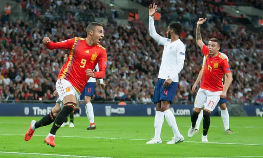 Rodrigo celebrates scoring what proved to be Spain's winner against England at Wembley.