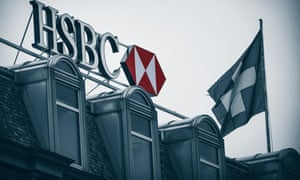 HSBC rooftop sign and flag