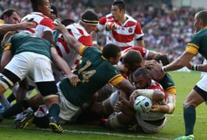 South Africa's supporters were being treated to the truly staggering sight of their heroes being mauled back over their own line to yield a try for the underdogs' outstanding captain, Michael Leitch