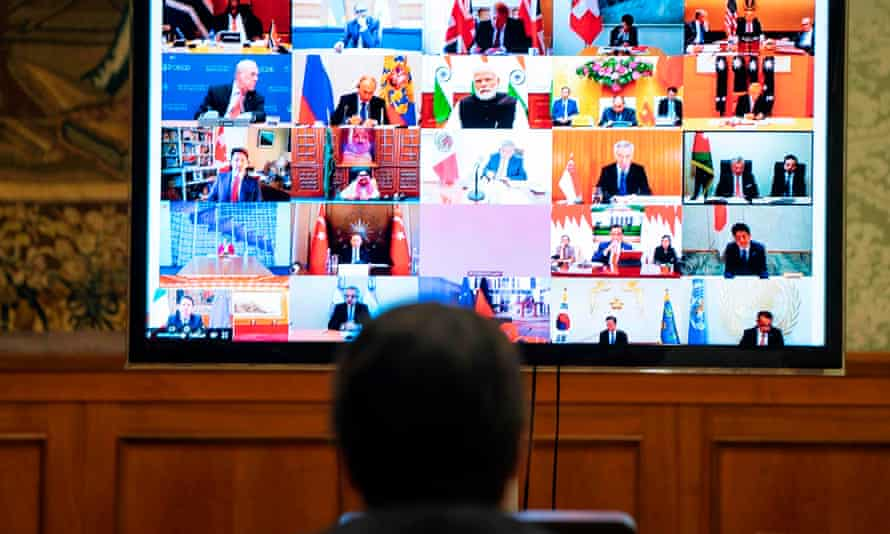 The Italian prime minister, Giuseppe Conte, takes part in a video conference meeting of G20 leaders during his country's lockdown due to the coronavirus pandemic.