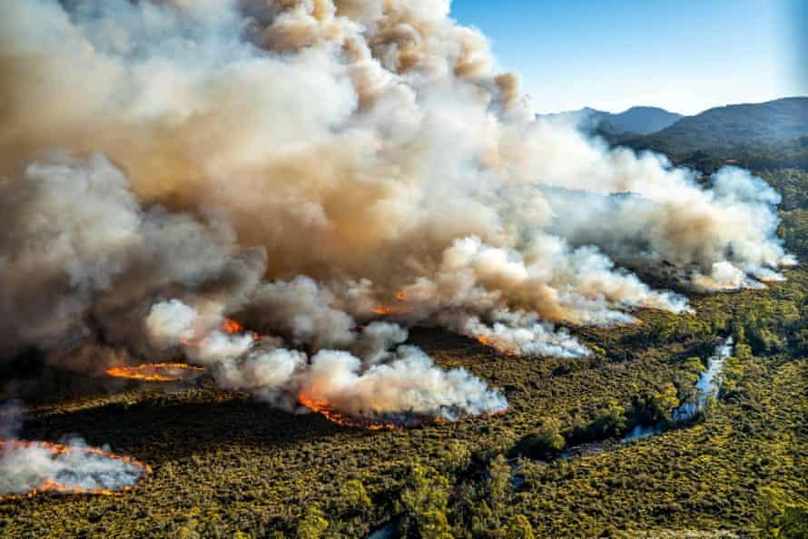 A large bushfire burns in Tasmania, Australia