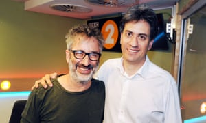 David Baddiel with Radio 2 stand-in host Ed Miliband.