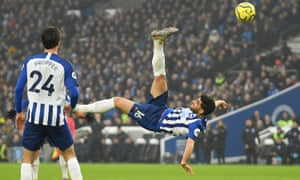 Alireza Jahanbakhsh scores with an overhead kick for Brighton against Chelsea in January.