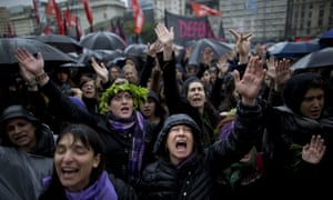 Women shout during a demonstration against 'gender violence' in Buenos Aires