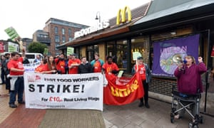 McDonald's workers strike in  Crayford