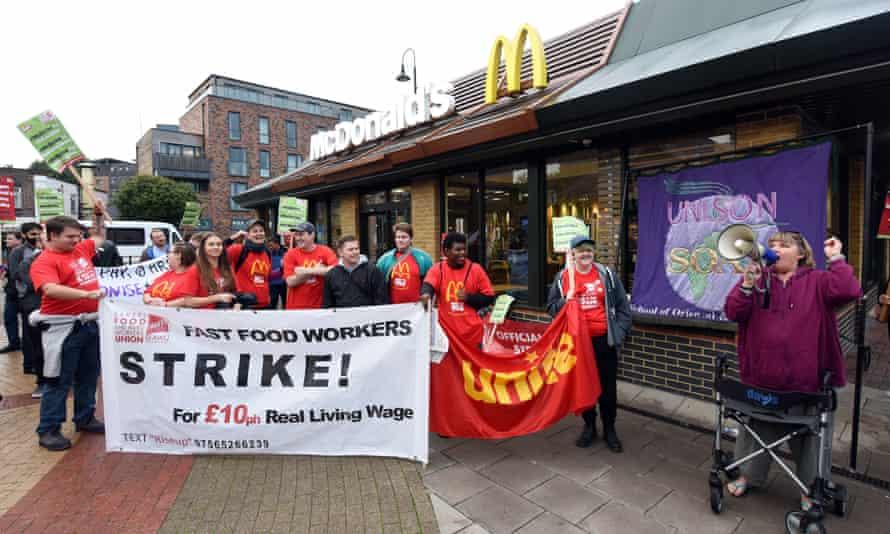 McDonald's workers strike in  Crayford
