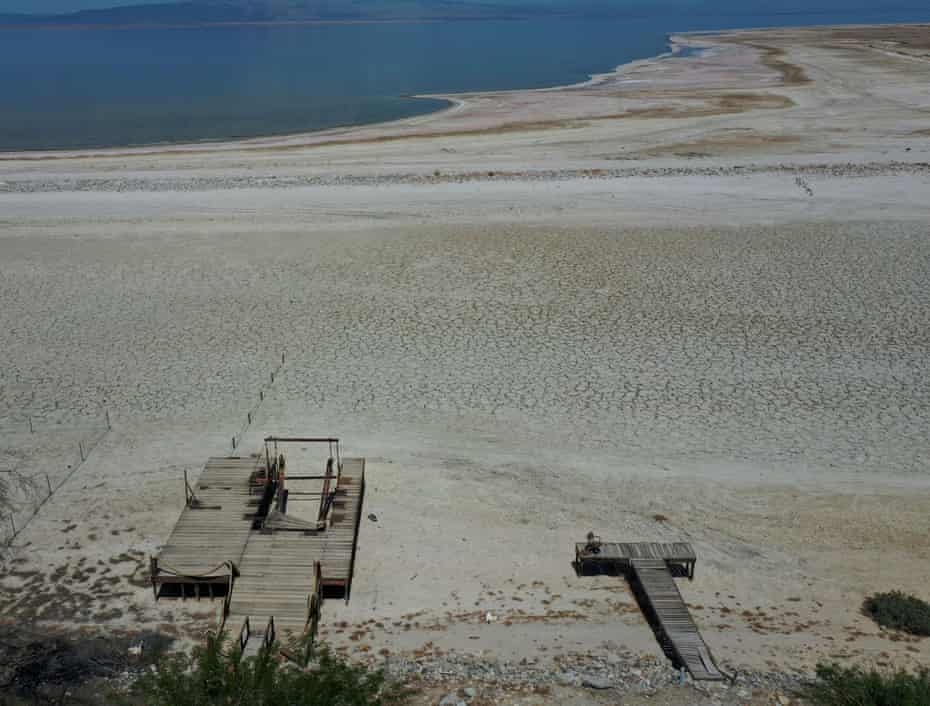 In Salton City, California, a receding waterline shows the drought's impact.
