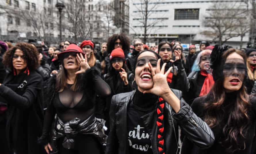 Women inspired by the Chilean feminist group Las Tesis protest outside New York City criminal court during Harvey Weinstein's trial in January.