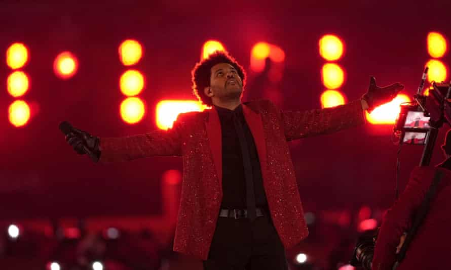The Weeknd performing during last month's Super Bowl halftime show.
